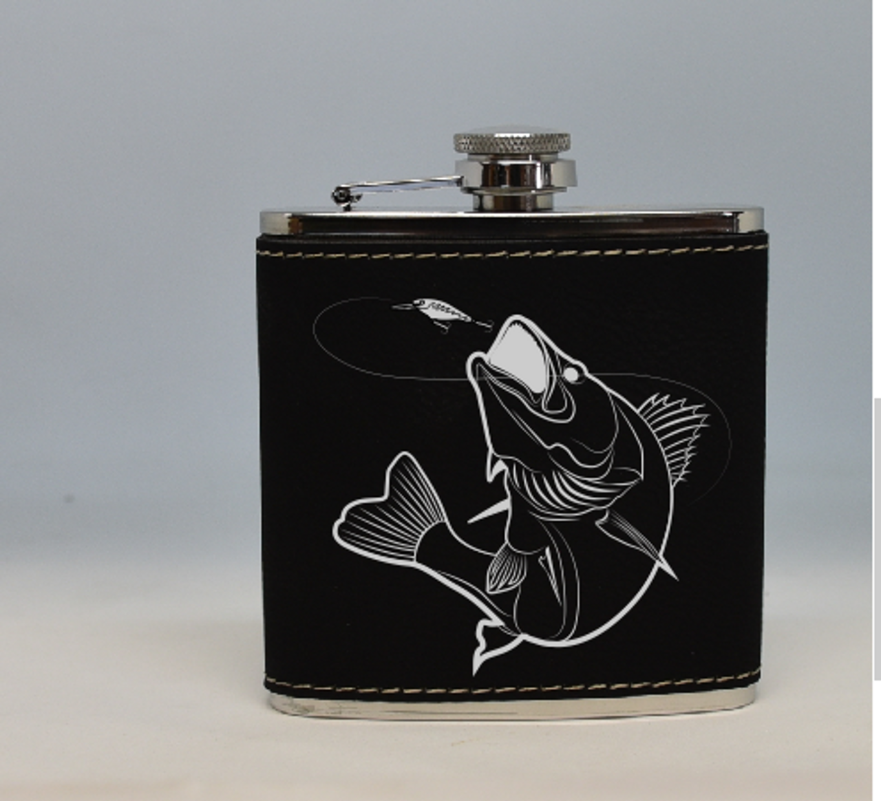 Black and Silver Walleye Flask