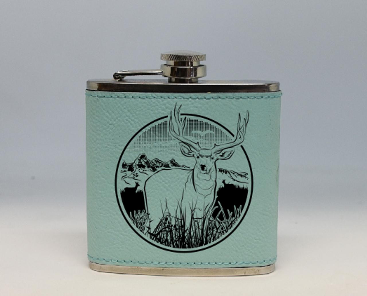 Teal Mule Deer Flask
