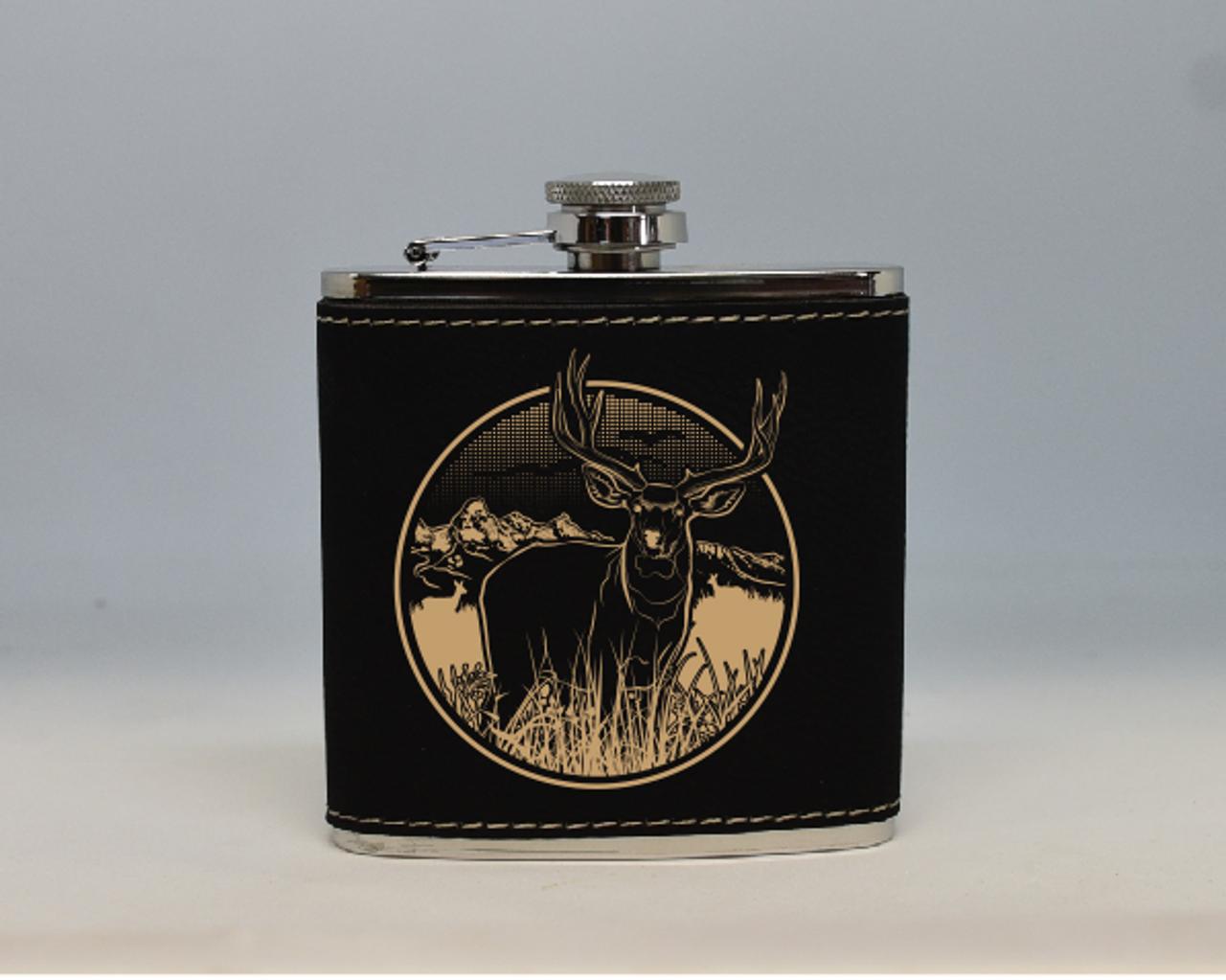 Black and Gold Mule Deer Flask