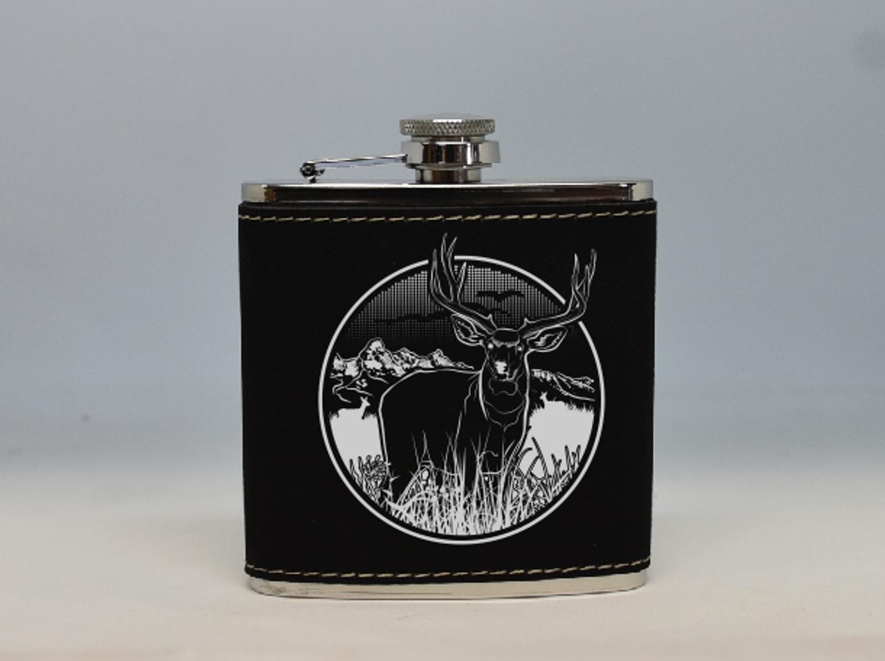 Black and Silver Mule Deer Flask