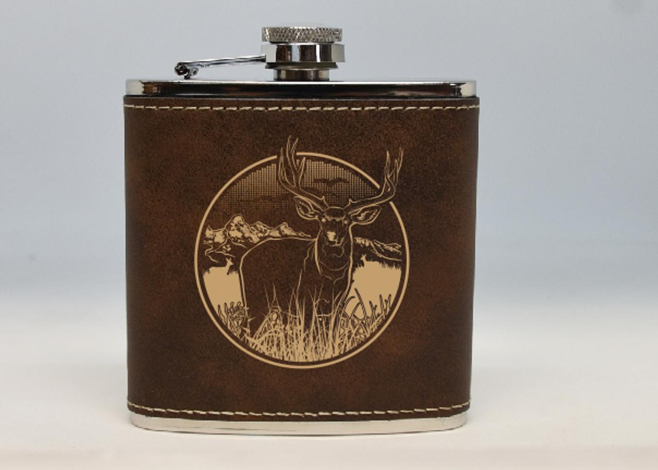 Brown and Gold Mule Deer Flask