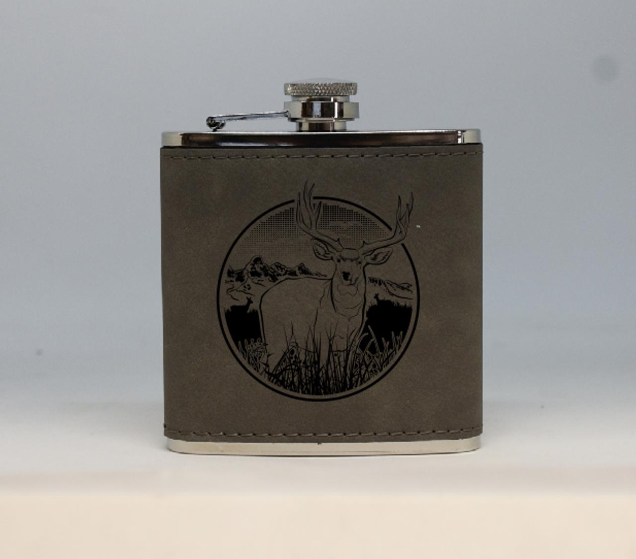 Gray Mule Deer Flask