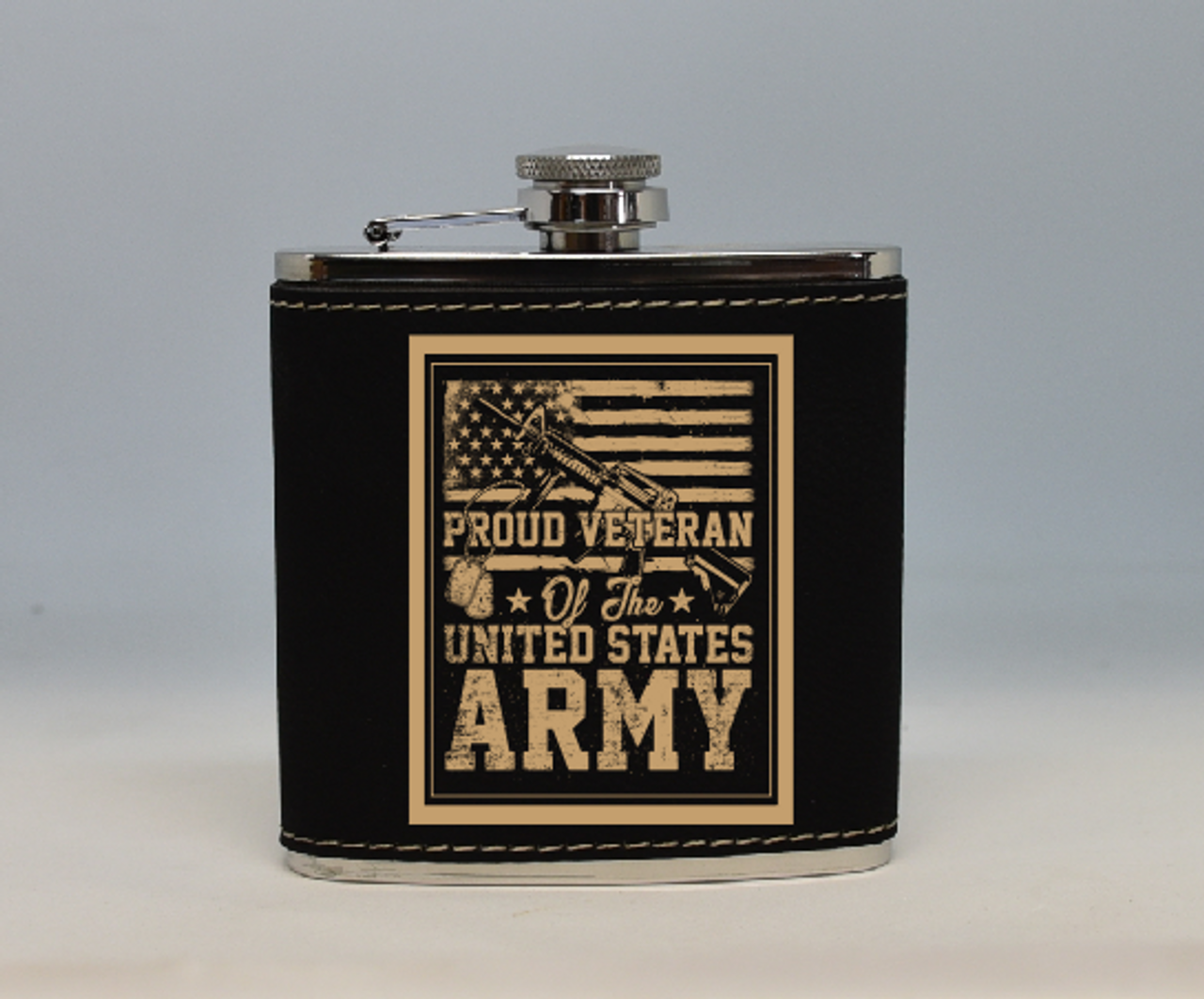 Black and Gold Army Veteran Flask