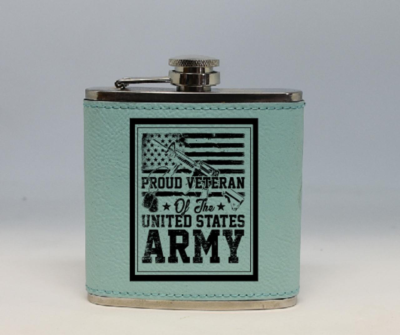 Teal Army Veteran Flask
