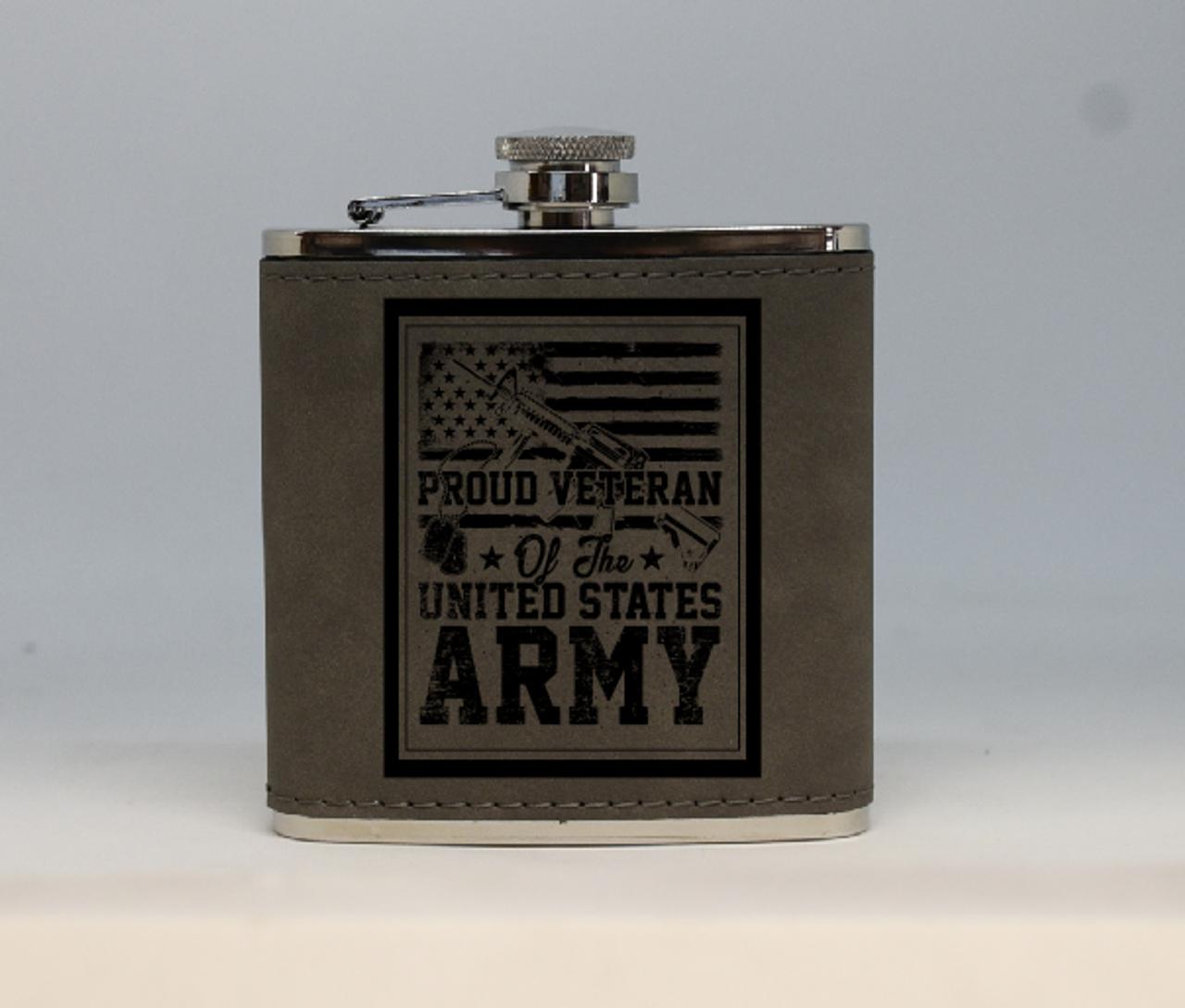 Gray Army Veteran Flask