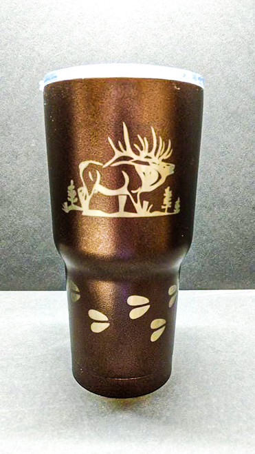 Elk with tracks Engraved on Black 30 oz Polar Camel