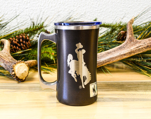 University of Wyoming Steamboat Engraved on a Brown 20 oz Hogg Mug