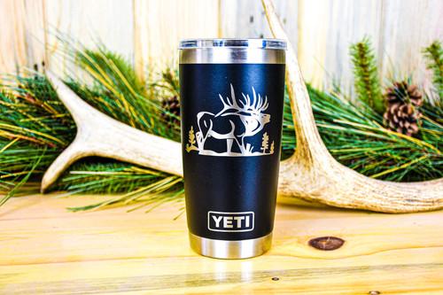 Elk engraved on Black 20  oz Yeti Rambler