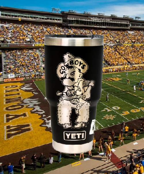 Pistol Pete engraved on a Black 30 oz Yeti Rambler