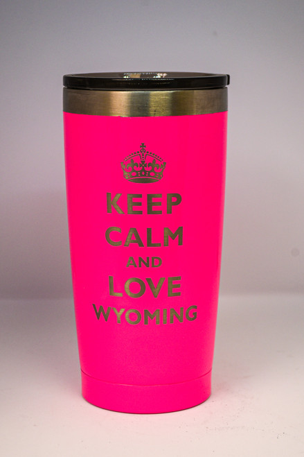 Keep Calm and Love Wyoming Engraved on 20 oz Polar Camel Tumbler