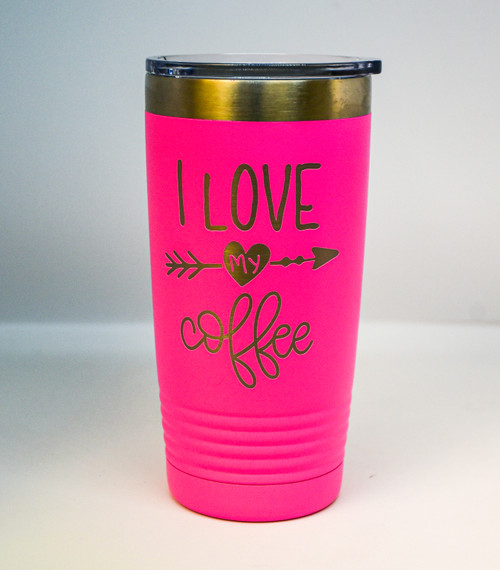 I love my Coffee, Pink 20 oz Polar Camel