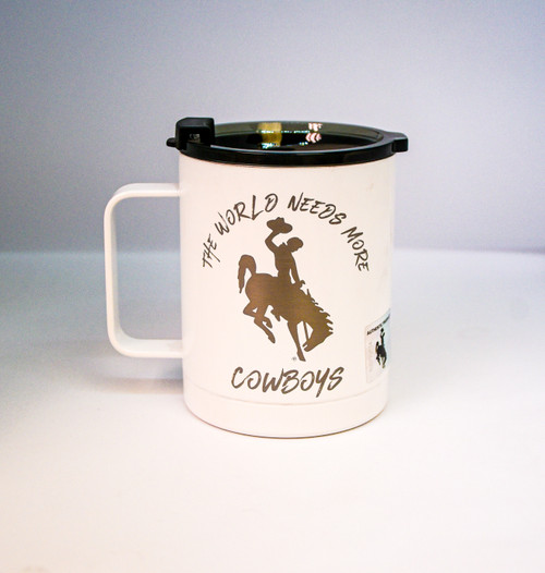 World Needs More Cowboys Engraved on White RTIC Coffee Tumbler