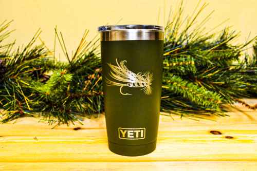 Dry Fly engraved on 20 oz OD Green Yeti Rambler