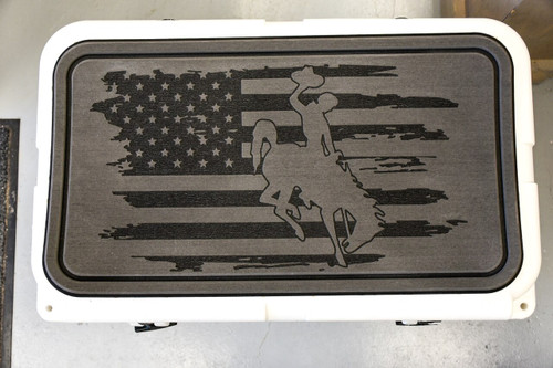 Steamboat Tattered Flag Engraved on a Dark Gray Yeti Pad