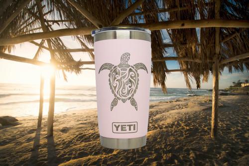 Sea Turtle Yeti Rambler on 20oz Ice Pink