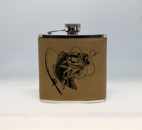 Tan Bass Fishing Flask