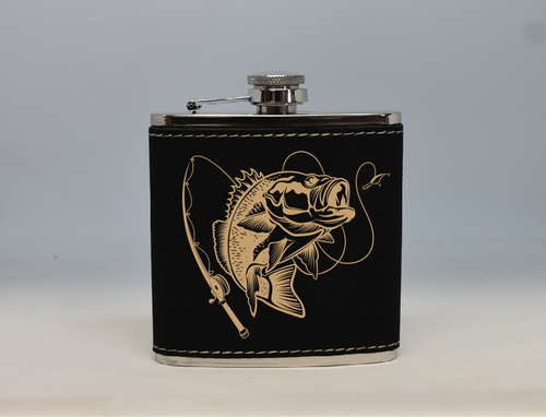 Black and Gold Bass Fishing Flask