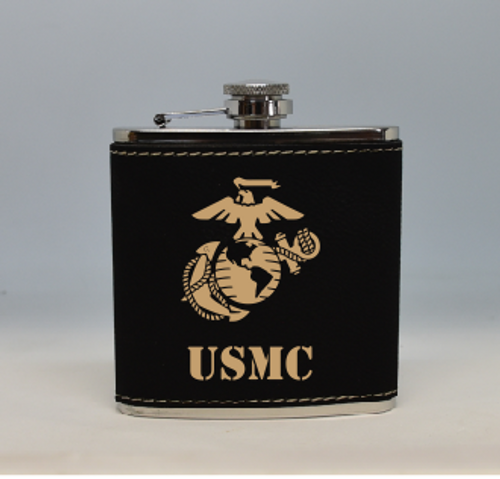 Black and Gold USMC Flask
