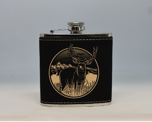 Black and Gold Mule Deer Flask