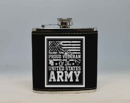 Black and Silver  Army Veteran Flask