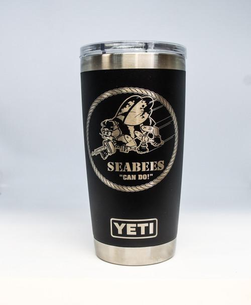 20 oz Black Navy Seabee Yeti Rambler