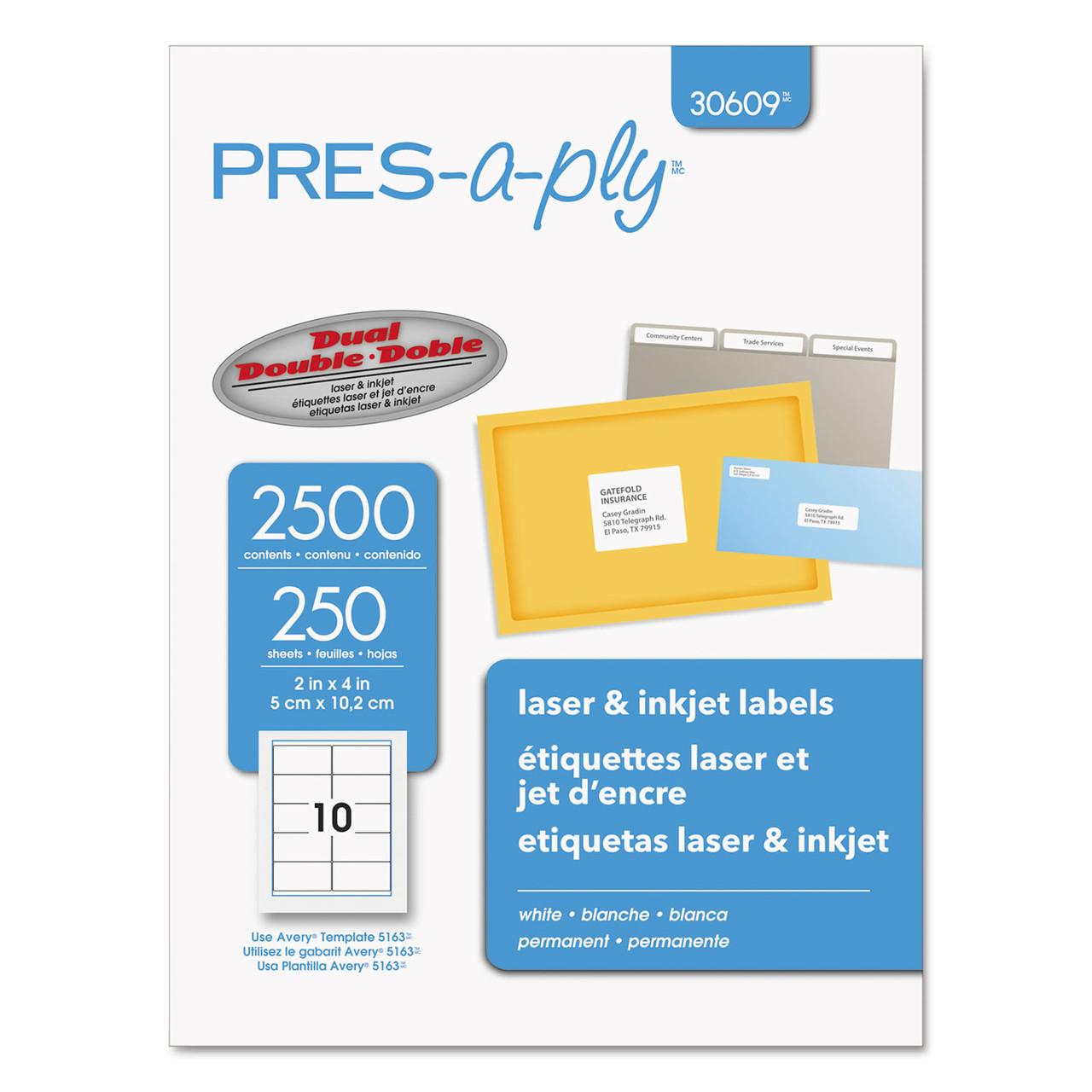"""2500 Laser Inkjet Labels 2/"""" x 4 1//4/"""" 10 labels//sheet same size as 5352"""