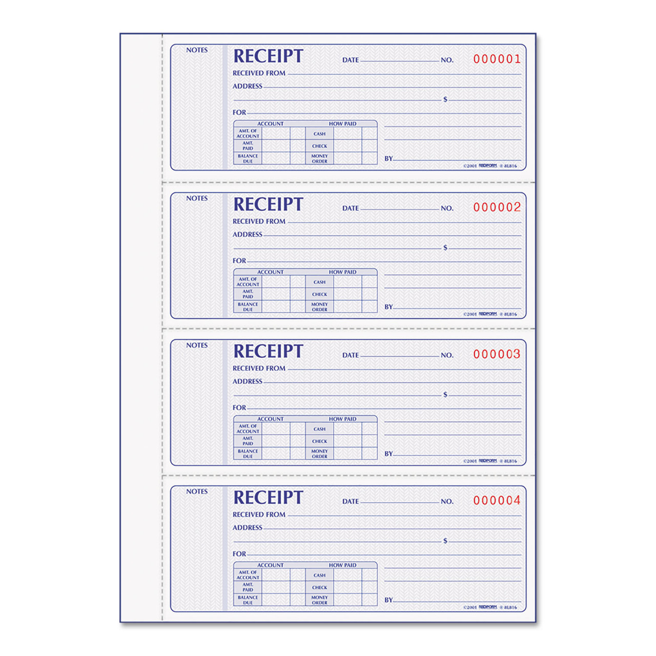 Rediform Small Money Receipt Book 50 Sets//Book Carbonless Duplicate 5 x 2-3//4