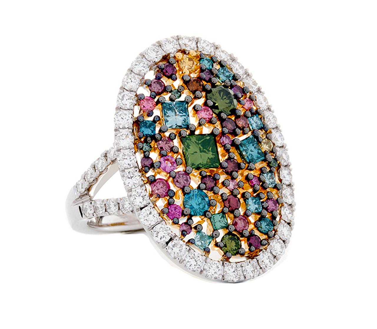 c1321d20de1fe SIE10855 MULTI COLOR DIAMOND RING 18K