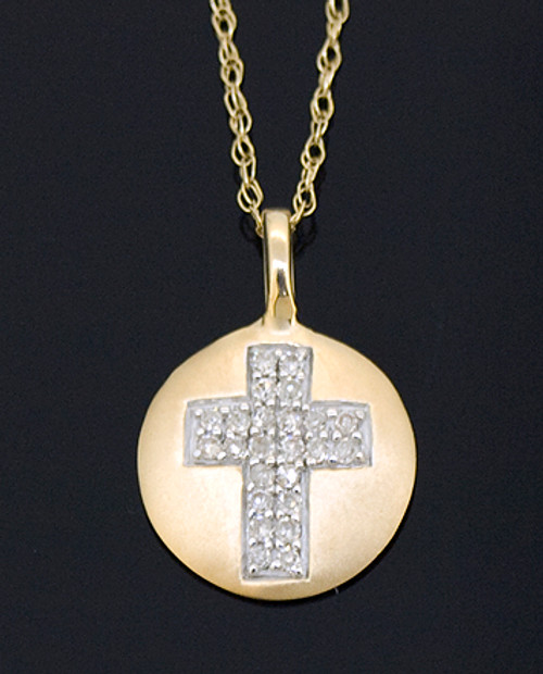 GBC12097 Diamond Cross Disc Necklace
