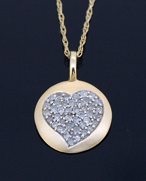 GBC12098 Diamond Heart Disc Necklace