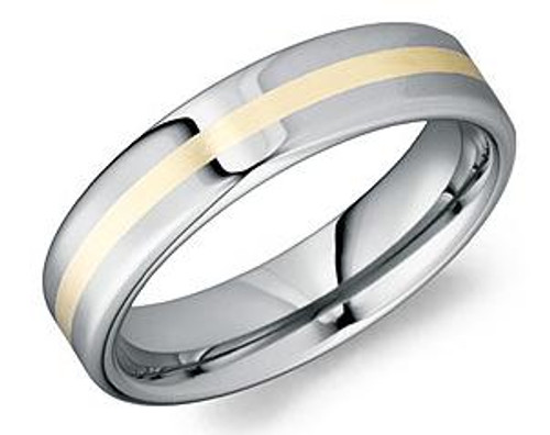 TU-0120-S Torque Tungsten and 18k Yellow Gold Inlay Wedding Ring