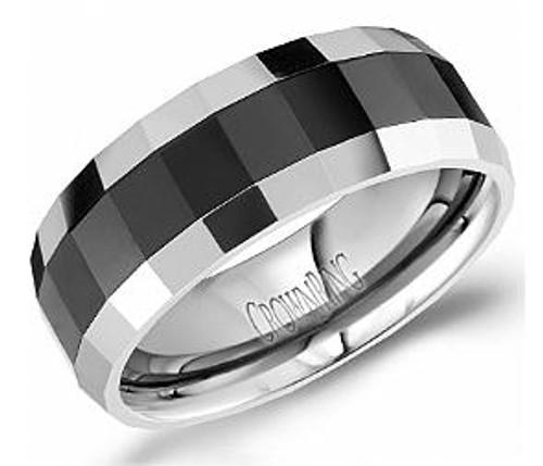 TU-0032 Torque Tungsten with Black Ceramic Inlay Wedding Ring