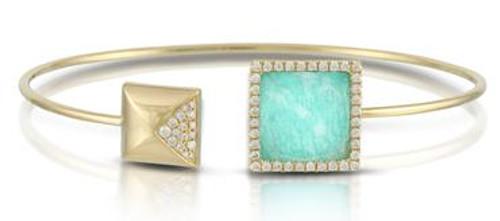 Doves Amazonite and Diamond Bangle 18k Gold