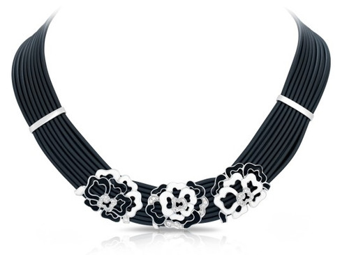 Belle Etoile Fiori Necklace White & Charcoal