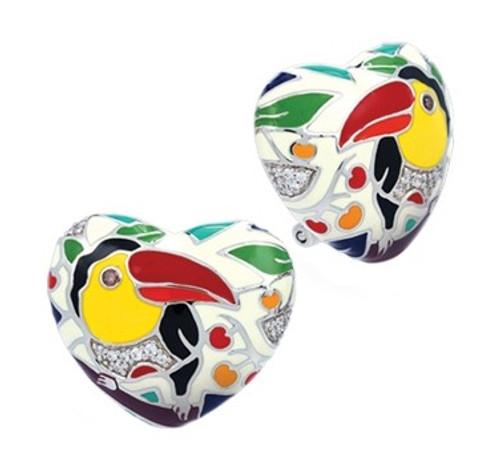 Belle Etoile Love Toucan Heart Earrings Ivory