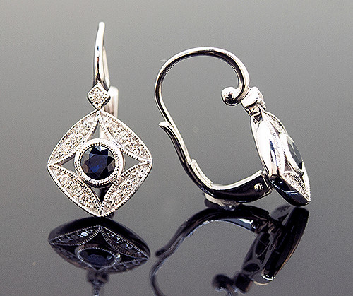 AMV10089 SAPPHIRE AND DIAMOND EARRINGS 14K
