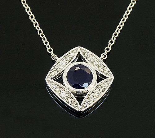 AMV10103 BLUE SAPPHIRE AND DIAMOND NECKLACE 14K