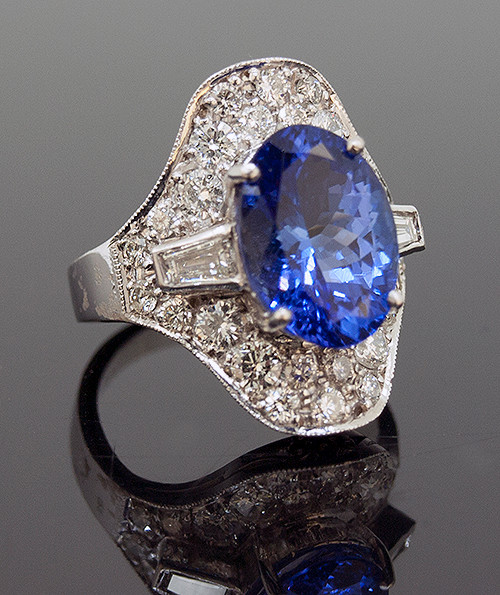 RPG10251 TANZANITE AND DIAMOND RING