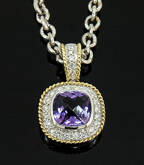 MBR10136 AMETHYST AND DIAMOND PENDANT 14K