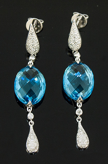 TT10183 BLUE TOPAZ AND DIAMOND DANGLE EARRINGS 14K