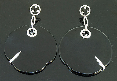 SIE10282 BLACK ONYX AND DIAMOND DANGLE EARRINGS 18K