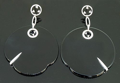 SIE10282 BLACK ONYX AND DIAMOND DANGLE EARRINGS 18K