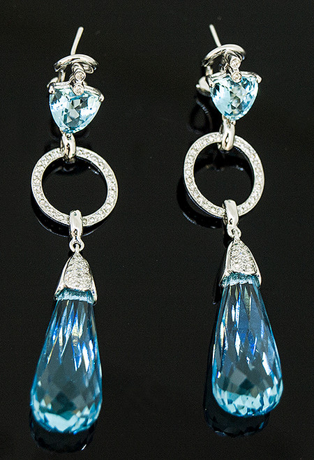 23510202 BLUE TOPAZ AND DIAMOND DANGLE EARRINGS 14K