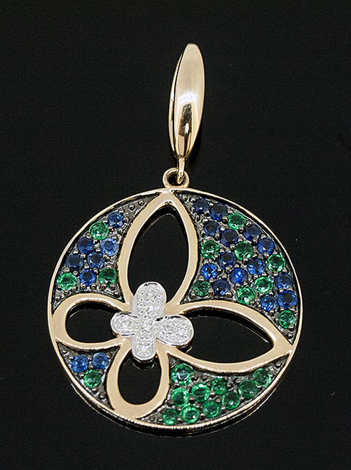 TT10673 SAPPHIRE, EMERALD AND DIAMOND PENDANT 18K