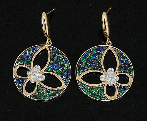 TT10660 SAPPHIRE, EMERALD, AND DIAMOND EARRINGS 18K