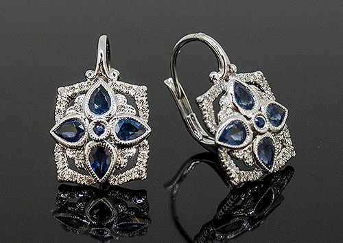 AMV10110 SAPPHIRE AND DIAMOND EARRINGS 14K