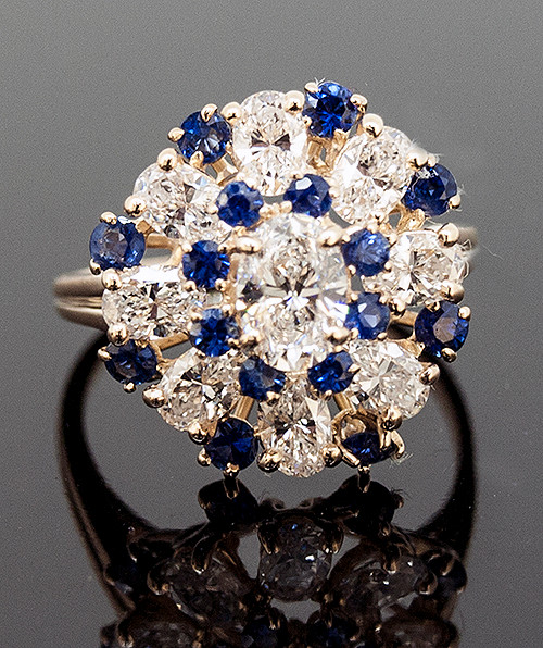 RPG10295 DIAMOND AND SAPPHIRE RING 18K