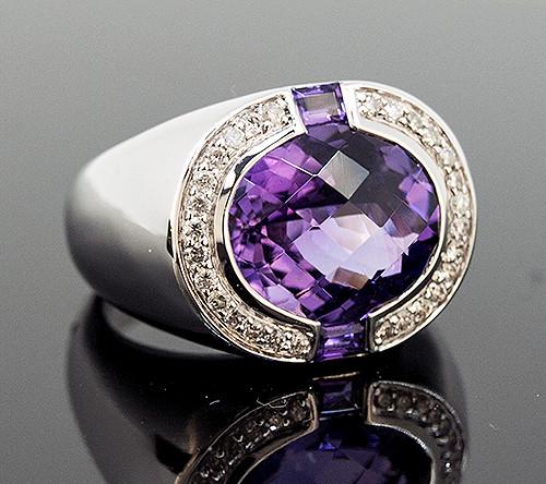 SG10446 AMETHYST AND DIAMOND RING 14K