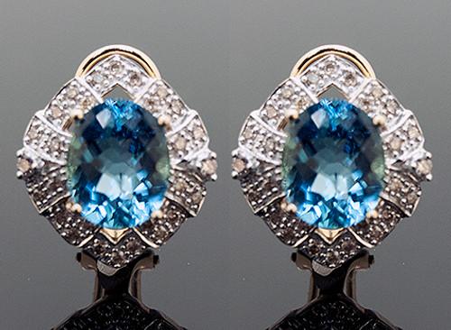 GBC10737 BLUE TOPAZ AND DIAMOND EARRINGS 14K