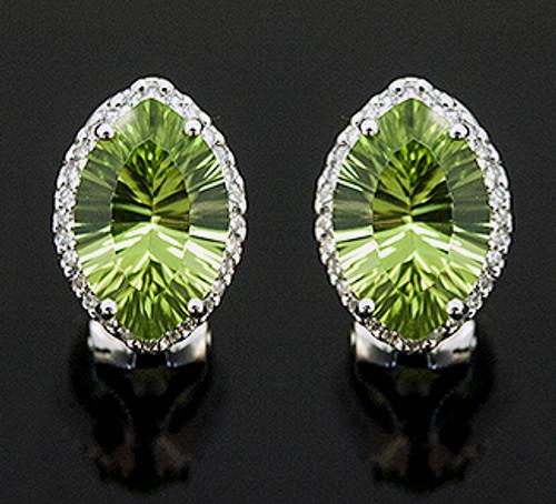 WLC10004 PERIDOT AND DIAMOND EARRINGS 14K